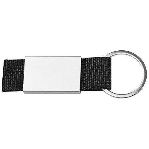 Schlüsselanhänger mit schwarzen Stoffbändchen