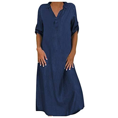 Dasongff - Vestido de verano para mujer con cuello en V, largo de solapa, blusa de manga larga, vestido de tiempo libre, caftán, playa, vestido de fiesta, estilo vintage