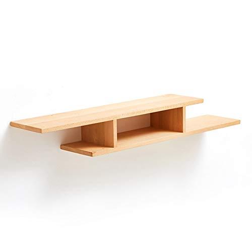 Axdwfd Drijvende Planken Set-top Box Rack, Zwarte Walnoot Slaapkamer TV Kast Wandplank Beuken Houten Rekken 120x22x16cm