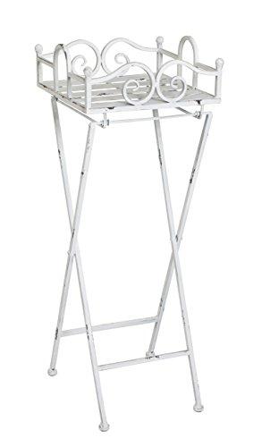 HAKU meubel inklapbare bijzettafel van antiek wit metaal modern 28 x 28 x 77 cm antiek wit
