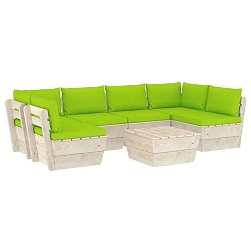 Tidyard Muebles de jardín de palets Taburetes Sofa Jardin Exterior Sofas Exterior Ratan Conjunto Jardin para Jardín Terraza Patio en Poli Ratán2# 7 Piezas y Cojines Madera de Abeto Verde Brillante
