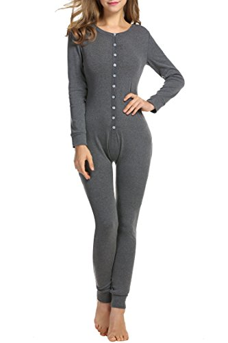 Hotouch Women's Union Suit Thermal Underwear Long John Dark Gray S