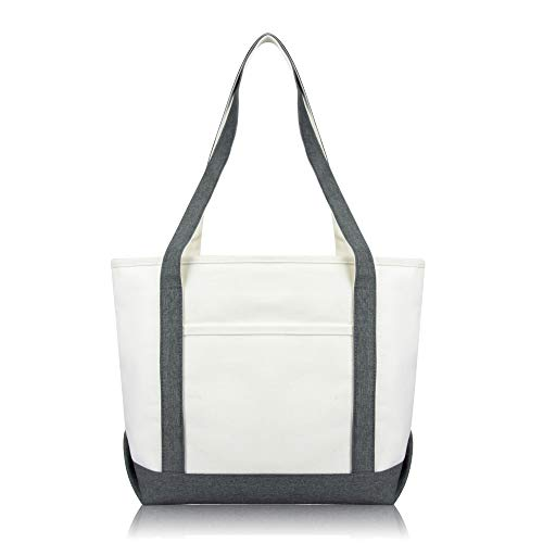 DALIX Daily Shoulder Tote Bag Premium Cotton in Gray