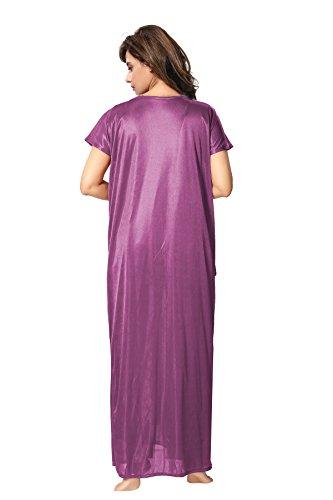 Lovira Purple Solid Women 4 Pieces Nightwear Set/Nighty with Robe & Top & Pyjama Set (Free Size)