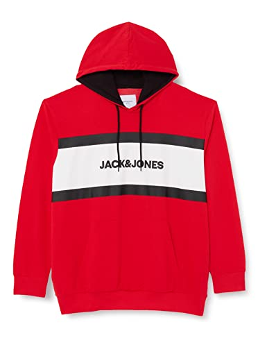 JACK & JONES JJSHAKE Sweat Hood PS Sweatshirt Capuche, True Red, 5XL Homme