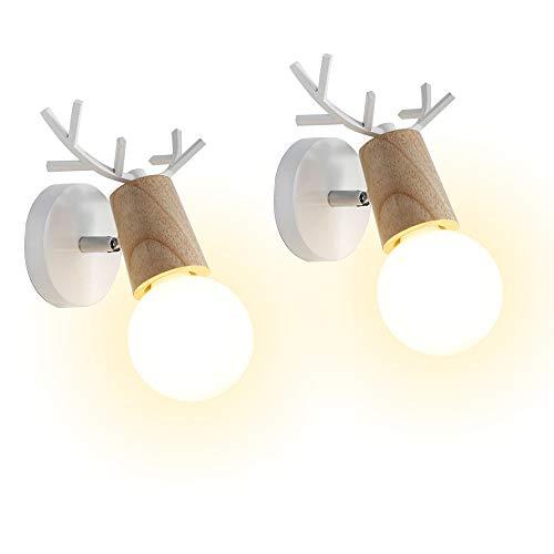 iDEGU Lot de 2 Applique Murale Moderne Créative Design Deer Antler Lampes Murale Interieur en Bois et Métal Lampe de Mur Art Déco pour Chambre Salon Couloir Restaurant Salle de Bains (Blanc)