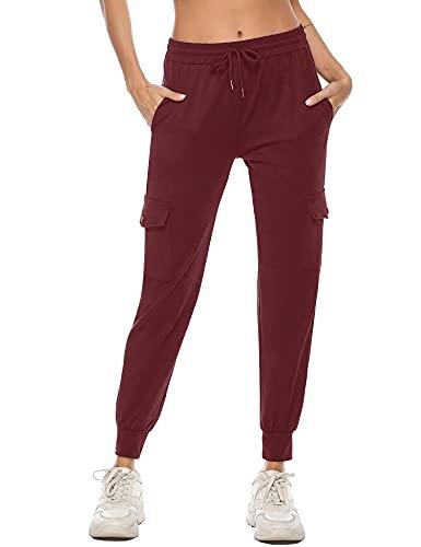 iClosam Pantaloni Tuta Donna in Cotone Pantaloni Sportivi Donna con Tasche Pantaloni Jogger Morbidi Leggeri per Jogging Fitness Cremisi L