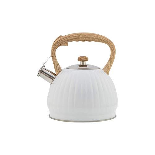 Kettle de silbato portátil Tetera silbida Camping Teteras Truffle Blanco Calabaza En forma de sonido Hervidor de sonido 3.5L Whistle Kettle Utensilios de cocina Botella de agua de viaje adecuada para