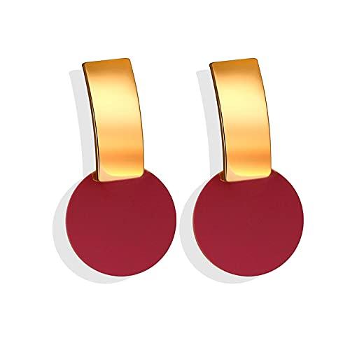 FEARRIN Pendientes para Mujer Pendientes Colgantes de acrílico con Tachuelas para Mujer Pendientes de Gota de declaración de Color Vintage para Mujer Joyería Brinco Rojo