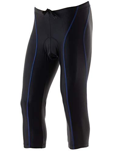 Wellcls(ウェルクルズ) メンズ 七分丈 3Dゲルパッド付 レーサーパンツ ひざ下丈 サイクリング 黒×青 M(74-80cm)