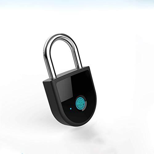 JJZXT Candado de Huellas Digitales con App, conexión Bluetooth Metal a Prueba de Agua IP65 sin Llave de Bloqueo, Apto for Puerta de la casa, Maleta, Mochila, Gimnasio, Bicicletas, Oficina
