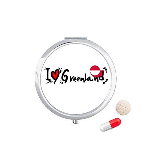 DIYthinker Ik hou van Groenland Woord Vlag Liefde Hart Illustratie Reizen Pocket Pill Case Medicine Drug Opbergdoos Dispenser Spiegel Gift