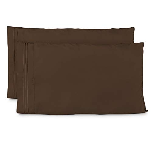 Cosy House Collection Pillowcases King Size - Chocolate Luxury Pillow Case Set of 2 - Premium Super Soft Hotel Quality Pillow Protector Cover - Cool & Wrinkle Free - Hypoallergenic