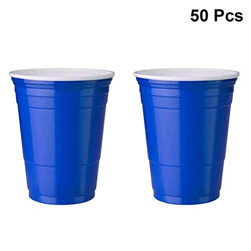 TOYANDONA 50 stücke einweg plastikbecher Geschirr Party Wasser Bier Tee Tasse für Geburtstag Hochzeit Cafe bar Restaurant liefert 450 ml (blau)