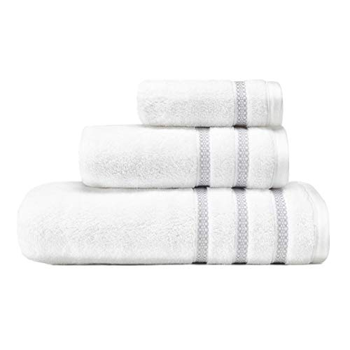 Vera Wang   Trellis Collection   100% Cotton Soft and Plush Modern Dobby Design, Absorbent Fade Resistant and Low Lint Bath Towel Set, 3-Piece, Grey