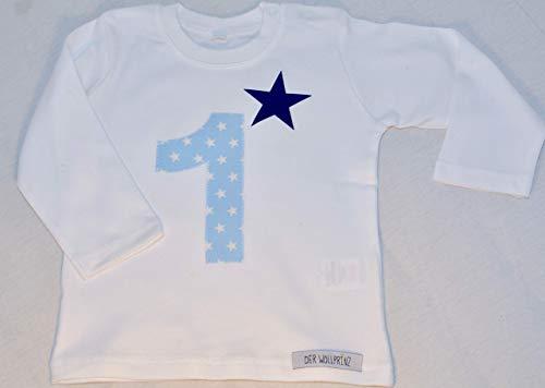 Der Wollprinz Geburtstag T-Shirt für Kinder mit Zahl, Kindershirt mit Zahl 1 T-Shirt mit Zahl 1 in weiss mit der Zahl 1 in blau langärmlig