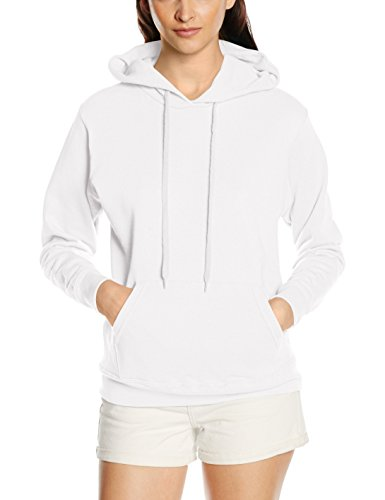 Fruit of the Loom - Sweat-shirt à capuche - Manches Longues - Femme - Blanc (White) - FR 44 (Taille fabricant: XL)