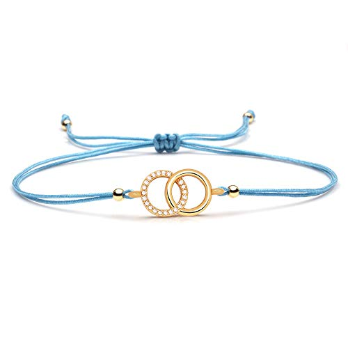 ANGYANG Woven Bracelet,Blue Rope With Cubic Zirconia Golden Double Interlaced Linked Circle Woven Adjustable Charm Bracelets Exquisite Friendship Gift For Men Women Couples Boy Girl
