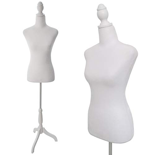 Female Dress Form Mannequin Torso Body with Adjustable Tripod Stand Dress Jewelry Display (White)