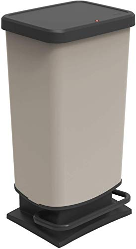 Rotho Paso Mülleimer 40l mit Pedal und Deckel, Kunststoff (PP recycelt) BPA-frei, cappuccino, 40l (35,3 x 29,5 x 67,6 cm)