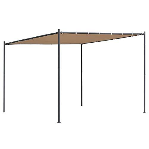 Festnight Pérgolas Exterior, Pabellón con Diseño Elegante, Cenador con Tela de Poliéster Resistente al Agua y a UV, Uso para el Exterior (3 x 3, Beige)