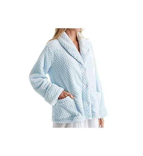 La Cera Women's 100% Polyester Honeycomb Fleece Bed Jacket 8825 L Blue