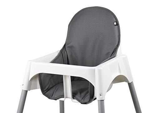 Tinydo® Hochstuhl-Sitzkissen optimal für IKEA Antilop und ähnliche Treppenhochstühle mit Memory-Schaum-Dämpfung Sitzverkleinerer-Auflage für Babystühle rutschfest pflegeleicht (dunkelgrau)