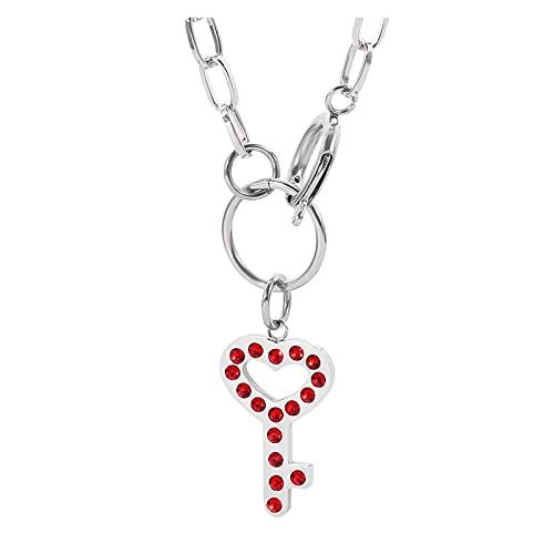 JIAQ IGIRL Collar de cristal rojo Hip-hop Key Fashion Chain Collar para mujeres y niñas Gargantilla 40 cm Collar de cadena Charm Accesorios para fiesta (color metal: XL0688)