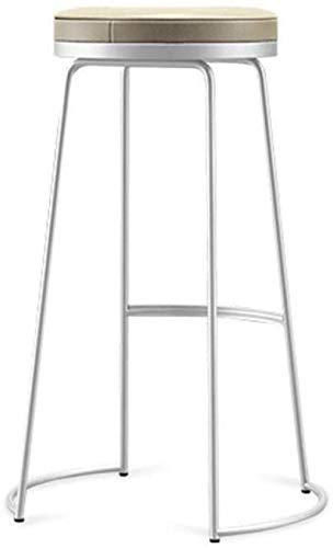 Taburetes para encimeras de cocina, asiento redondo tapizado de metal, taburete alto, bar, desayuno, hogar, cocina, encimera, taburetes altos (color: negro tamaño: 65 cm), blanco (45 cm)