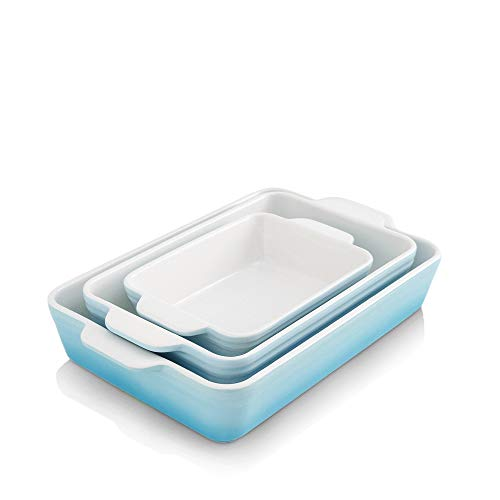 KOOV Bakeware Set, Ceramic Baking Dish Set, Rectangular Casserole Dish Set, lasagna Pan, Baking Pans Set for Cooking, Cake Dinner, Kitchen, 9 x 13 Inches, 3-Piece (Set of 3, Gradient Sky)