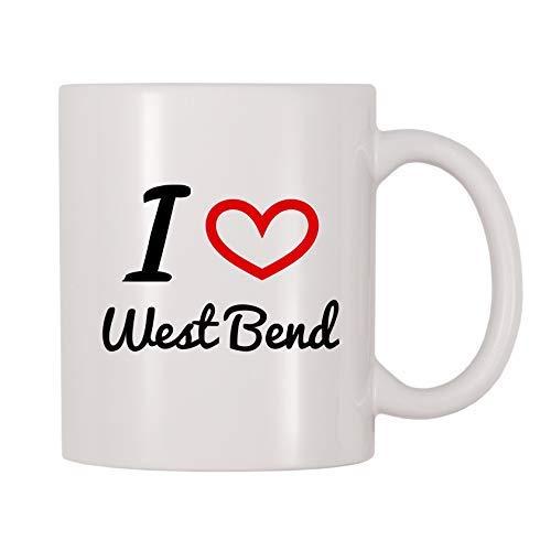 Queen54ferna Tasse à café humoristique avec inscription « I Love West Bend » en céramique Cadeau pour homme, femme, maman, papa, professeur, Noël,