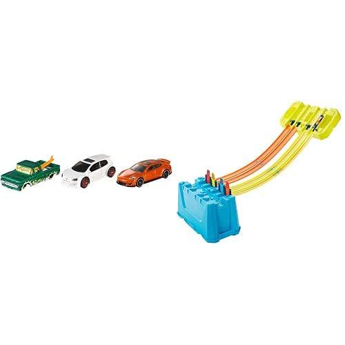 Hot Wheels K5904 3er Pack 1:64 Die-Cast Fahrzeuge Geschenkset, je 3 Spielzeugautos, zufällige Auswahl+GLC95 -...