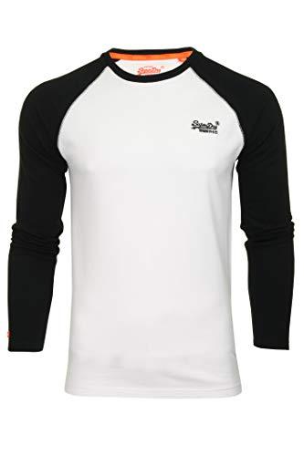 Superdry Herren T-Shirt 'Orange Label Baseball L/S Tee' Rundhals Langarm (-Pk) (Black/Optic White) XXXL