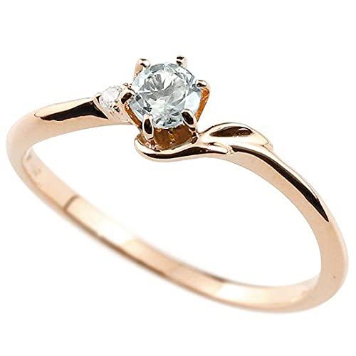 [アトラス]Atrus 指輪 レディース 10金 ピンクゴールドk10 アクアマリン ダイヤモンド イニシャル ネーム F ピンキーリング 華奢リング アルファベット 3月誕生石 人気 22号