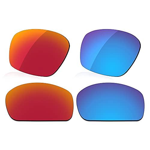 LenzReborn Reemplazo de lente polarizada para Revo Bearing RE4057 Sunglass - Más opciones, Rojo fuego + azul hielo., Talla única