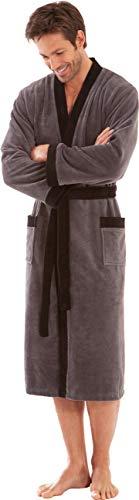 Morgenstern Kimono Bademantel für Herren in Grau lang leicht Männer Hausmantel Saunabademantel Baumwolle Microfaser Viskose Größe L