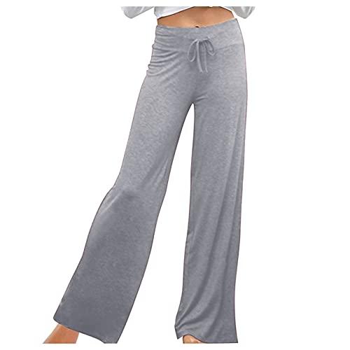 Pantalones de verano para mujer, informales, harén, bombachos, elegantes, estilo lápiz, playa, bohemios, para la playa, para correr, carpi, con bolsillos, ancha, pernera ancha (gris, XXL)