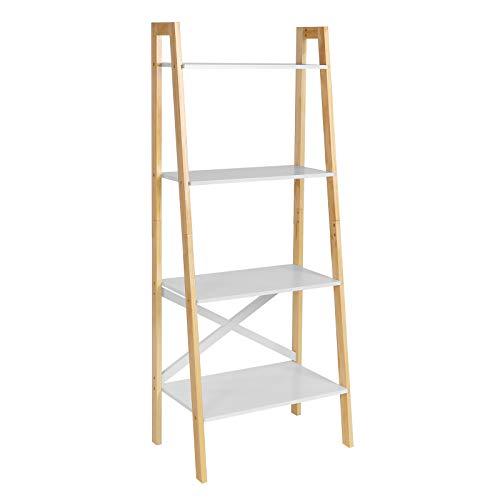 VASAGLE Standregal, Leiterregal mit 4 Ebenen, Bücherregal, Anstellregal, für Wohnzimmer, Schlafzimmer, Küche, Büro, mattweiß-naturfarben LLS200N01