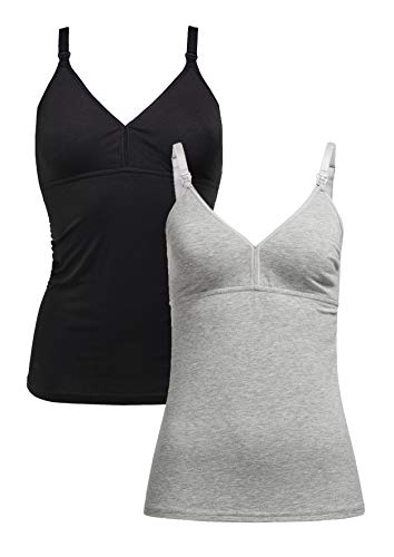 Herzmutter Stilltop-Stillshirt-Unterhemd für Damen - einfache Stillfunktion - integriertes Bustier-BH mit Clip-Verschlüssen - hochwertiger Baumwoll-Mix - 1er & 2er-Set - 5420 (XXL, Schwarz/Grau)