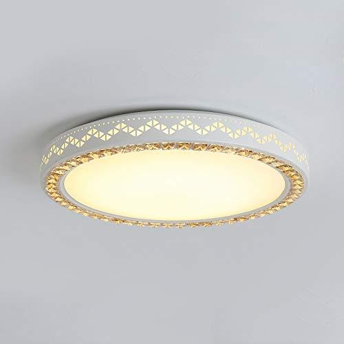 Moderne led-plafondlamp, 24 W, afstandsbediening, dimbaar, creatief, rond, kristallen plafondlamp, binnenverlichting, plafondlamp, lamp voor slaapkamer, licht, woonkamer, keuken, eetkamer, Ø 40 × H8 cm, wit