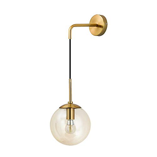 I-xun Lámpara de pared Bola de cristal Luces de pared Latón E27 Lámpara de caída Lámpara de sombra Lámpara de noche para sala de estar, dormitorio (Ámbar, 20cm)