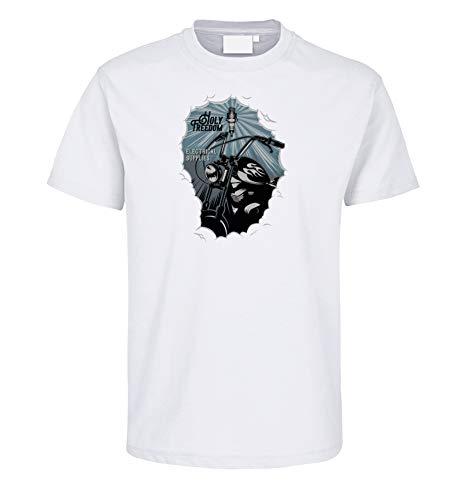 Shirtzshop - Maglietta da motociclista Holy Freedom Spark Chopper, candela di accensione per motociclisti, colore: Bianco bianco XXXL