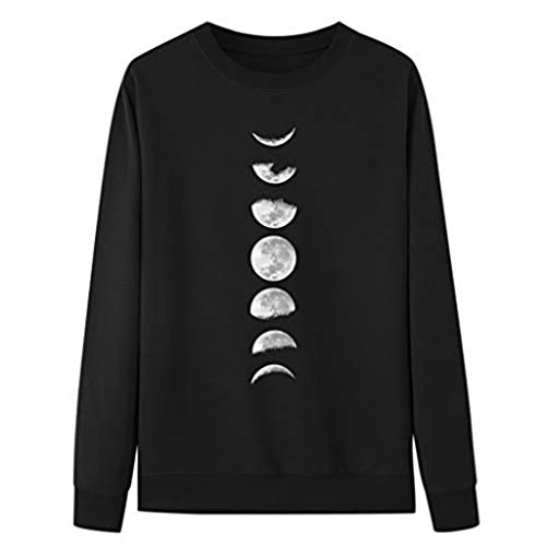 Review Kiminana Women's Moon Graphic Print Casual Pullover Crop Sweatshirt Round Neck Long Sleeve Sw...