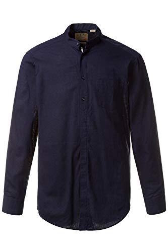 JP 1880 708636 - Camicia da Uomo, Taglie Fino a 8XL, in Misto Cotone e Lino, con Colletto Alto e Taschino sul Petto Blu (Navy 70863670) XXXXL