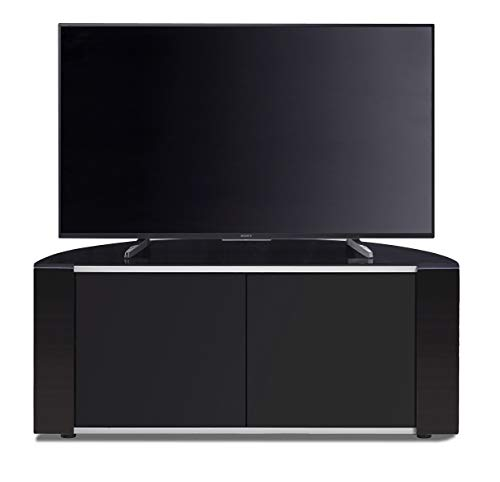MDA Designs Sirius 850 Remote Friendly Beam Thru Glass Door Gloss Piano Black with Black Front Profiles & Brushed Aluminium Trim 40