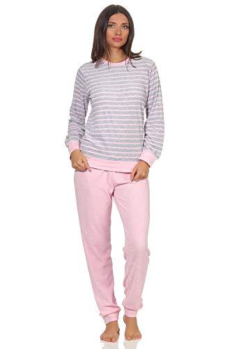 RELAX by Normann Damen Frottee Pyjama Langarm mit Bündchen in edler Streifenoptik - 291 201 13 780, Farbe:grau-Melange, Größe:44/46