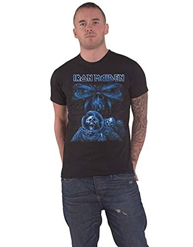 Iron Maiden Final Frontier Blue Album Spaceman Camiseta Manga Corta, Negro, M para Hombre
