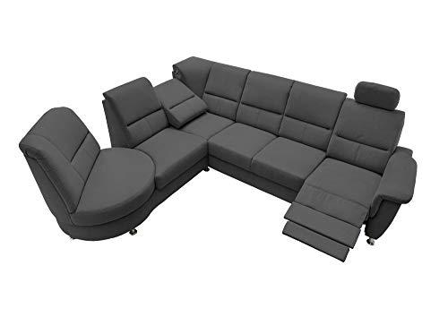 lifestyle4living Funktionssofa in schwarz, mit Relaxfunktionen, Verstellbarer Kopfstütze, USB-Anschluss, EIN um 360° drehbares Element