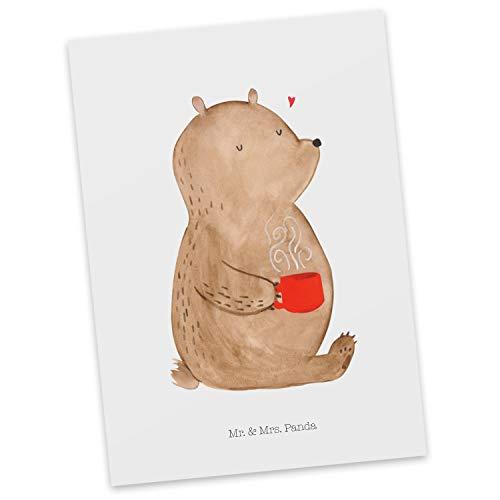 Mr. & Mrs. Panda kaart, wenskaart, Ansichtkaart Berenkoffie - Kleur Wit