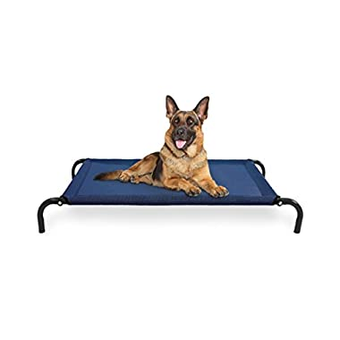 FurHaven Elevated Cot Pet Bed for Dogs and Cats, Deep Blue, Large
